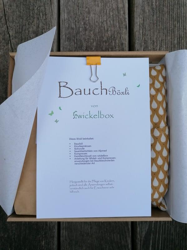 Inhalt Bauchböxli Anleitung für Wickel und Kompressen