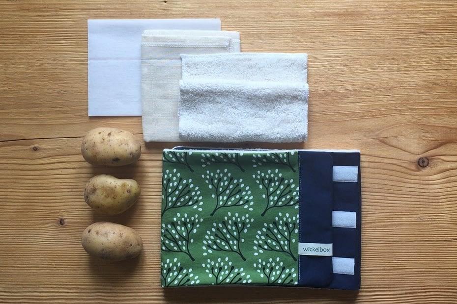 Benötigte Materialien für einen Kartoffelwickel bei Husten